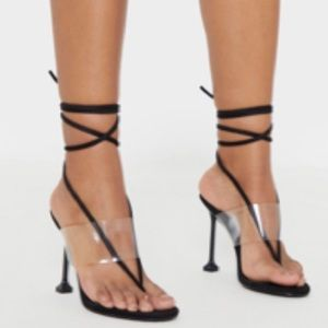 Clear Strap Lace Up Heels